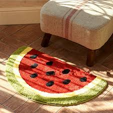 Half Circle Kitchen Rugs Non Slip Water Absorbing Fruits Lemon Watermelon Half