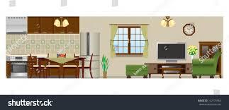 living room dining room kitchen stock vector 142775584 shutterstock