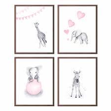 Gray Elephant Nursery Decor by Baby Animals Wall Art Nursery Decor Pink And Gray Baby
