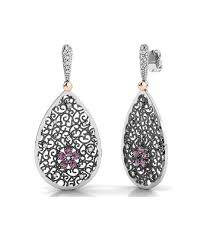 filigree earrings flowers filigree earrings in silver with laminated gold and