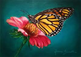 butterfly on a flower painting by niruh on deviantart