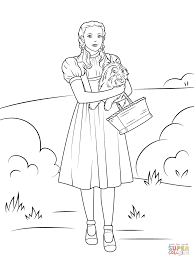 dorothy holding toto coloring page free printable coloring pages