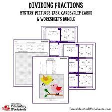 dividing fractions task cards and worksheets bundle printables