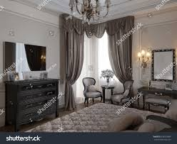 luxury classic modern bedroom interior design stock illustration
