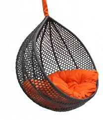bedroom cozy black knited rattan hanging chair for bedroom with