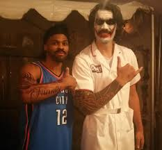 halloween party cleveland russell westbrook dressed up as steven adams for a halloween party