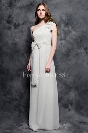one shoulder discount bridesmaid dress with bow tie