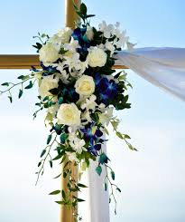 Blue Orchid Flower - wedding ceremony arch flowers blue orchid white roses white