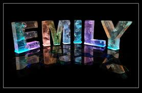 name emily in 3d coloured lights