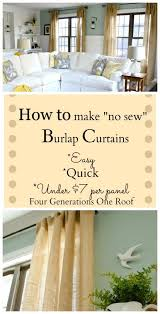 Green Burlap Curtains How To Make Curtains Using Burlap Four Generations One Roof