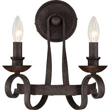 Two Light Wall Sconce Noble Rustic Black Two Light Wall Sconce Quoizel 2 Light Armed