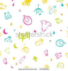 newborn baby necessities newborn baby necessities seamless pattern colorful stock vector