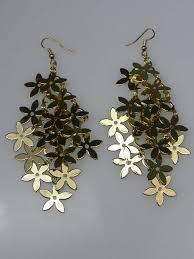 funky earrings gold multi funky flower dangly earrings