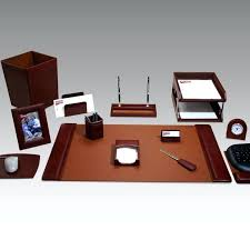 Executive Desk Organizer Leather Desk Set Brown Leather Desk Accessories Leather Desk