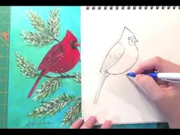 learn how to draw a cardinal in this free art lesson male and