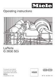 miele laperla g 2830 sci user manual 80 pages