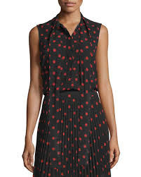 black polka dot blouse mcq mcqueen sleeveless woven polka dot blouse black