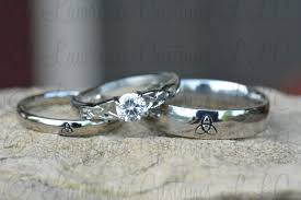 Steel Wedding Rings by Triquetra Ring Set Irish Wedding Rings Stainless Steel