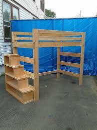 full size heavy duty loft bed with stair case shelf douglassfur