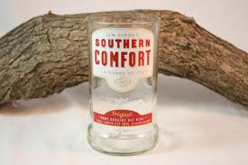 Southern Comfort Bottle Drinking Glass From Upcycled Southern Comfort Liquor Bottle