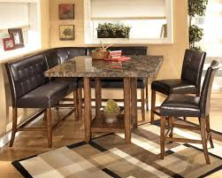 Dining Room Benches With Backs Black Leather L Shaped Bench With Back With Varnished Cherry