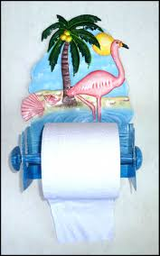handcrafted home decor flamingo toilet paper holder tropical hand painted metal