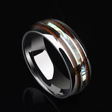 sti wedding ring mens wedding band with wood shell inlays