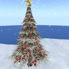 second life marketplace outdoor christmas pine tree red star