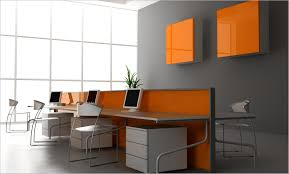 office luxury office room design with grey wall color and long