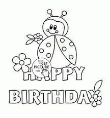 happy birthday card ladybug coloring kids holiday