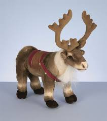 40cm standing lying reindeer with saddle harness plush soft toy
