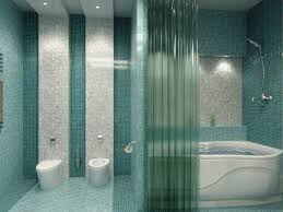 blue bathroom decoration using light blue glass mosaic tile