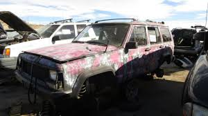 white and pink jeep junkyard find 1993 jeep cherokee pink camouflage edition