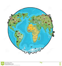 Earth World Map by Planet Earth And Animals Beast On Continents World Map Geogra