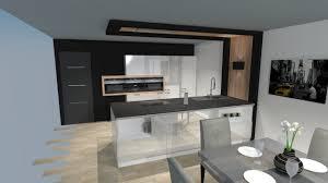 cuisine blanc et noir cuisine moderne blanche bois et