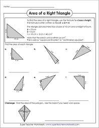 Area And Perimeter Of A Triangle Worksheet Of Right Triangles