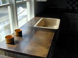 Copper Kitchen Countertops Kitchen Patina Copper Countertop With Undermount Farm Sink