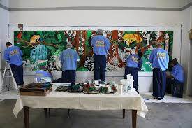 no license plates here using art to transcend prison walls the inmates in a mural class at salinas valley state prison in soledad calif the class is part of an initiative to bring the arts to all 35 california state