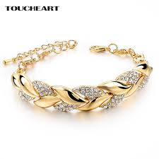 braided bracelet with chain images Toucheart braided gold color leaf bracelets bangles with stones jpg