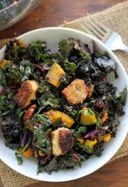 kale salad with brie croutons roasted butternut squash cumin