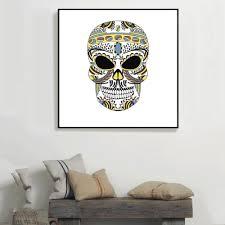 online buy wholesale adesivo skull from china adesivo skull technicolor hallowmas skull canvas print poster wall stickers home decoration adesivo de parede home decoration accessories