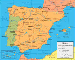 physical map of spain spain map and satellite image