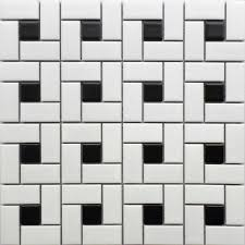 11 square feet black and white brick ceramic mosaic tile kitchen