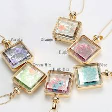 long flower necklace images Gold square perfume bottle dried flower floating locket long jpg