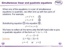 simultaneous linear and quadratic equations
