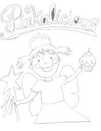 pinkalicious with pink cupcakes coloring page and coloring pages