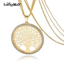vintage crystal pendant necklace images Longway tree of life gold color long necklace for women vintage jpg