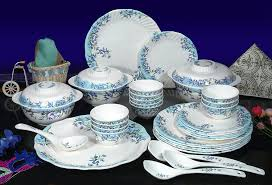 Plastic Dining Table Online Shopping India Buy Machi Azure Flower Print Dinner Set 35 Pcs Online At Low