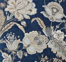 2016 luxurious jacquard blue chenille floral design for sofa chair