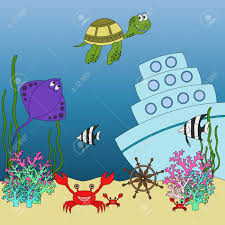 underwater animals and fish with names cartoon educational
